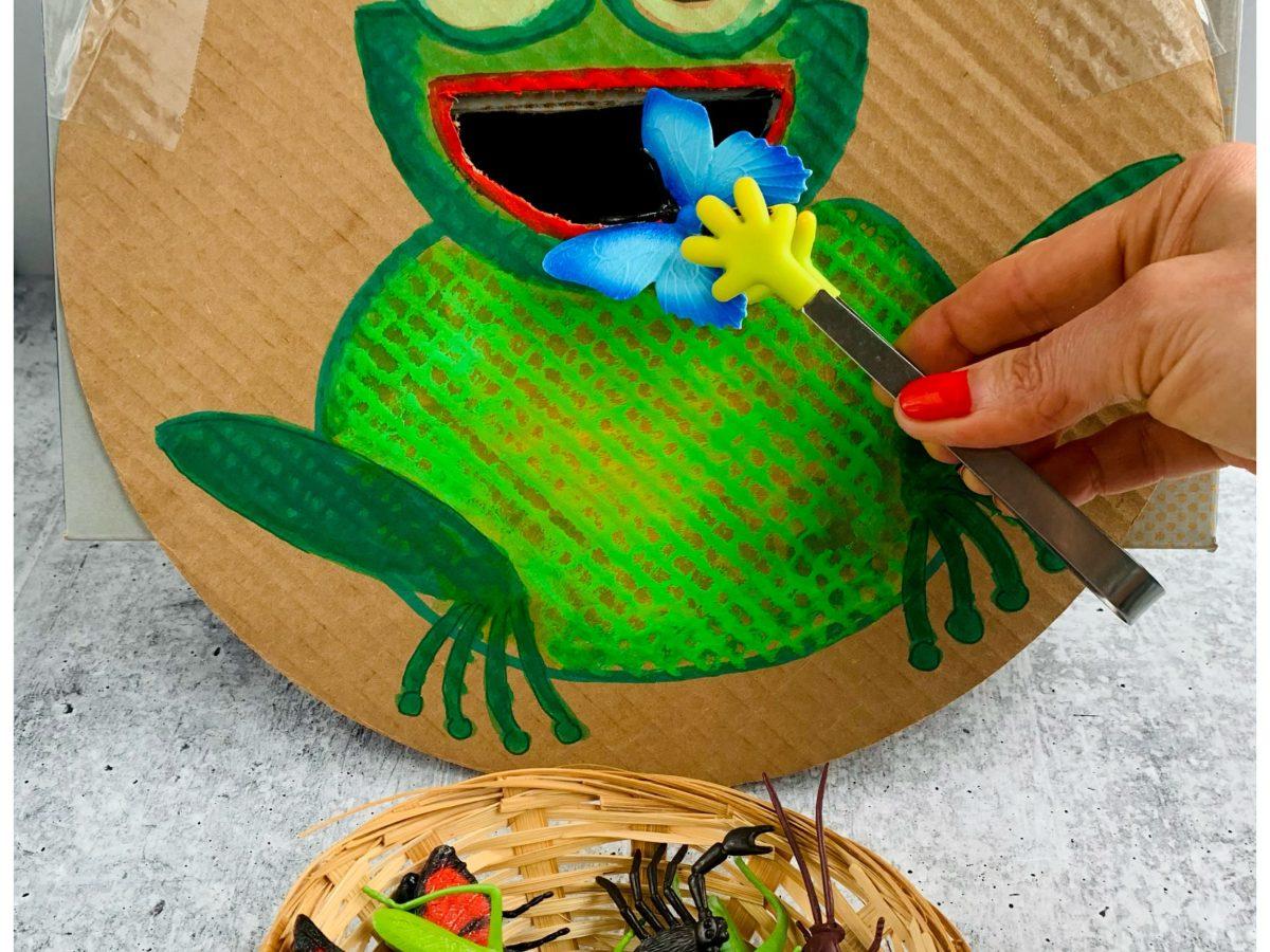 FEED THE FROG CARDBOARD DIY KIDS ACTIVITY