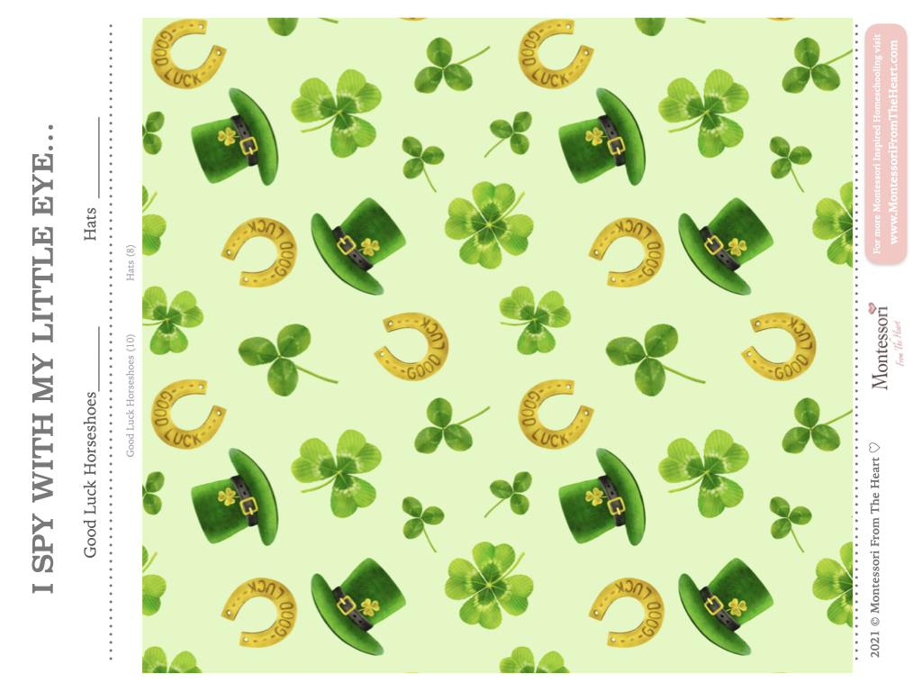 St Patrick's Day I SPY Kids Activity FREE PRINTABLE