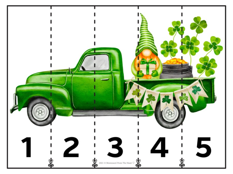 St. Patrick's Day STRIP PUZZLES FOR KIDS Numbers 1-5