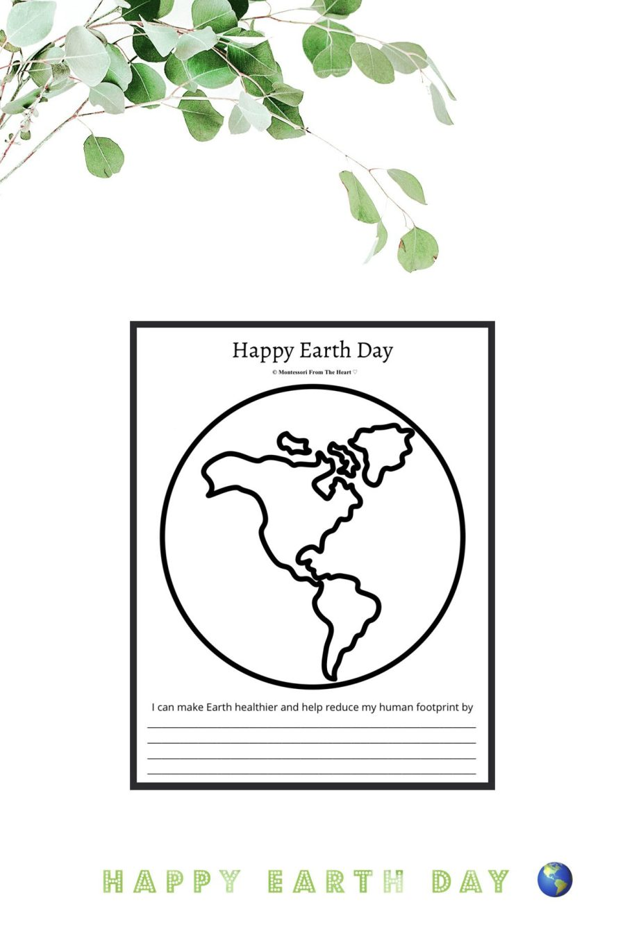 *Happy Earth Day Printable North America Continents