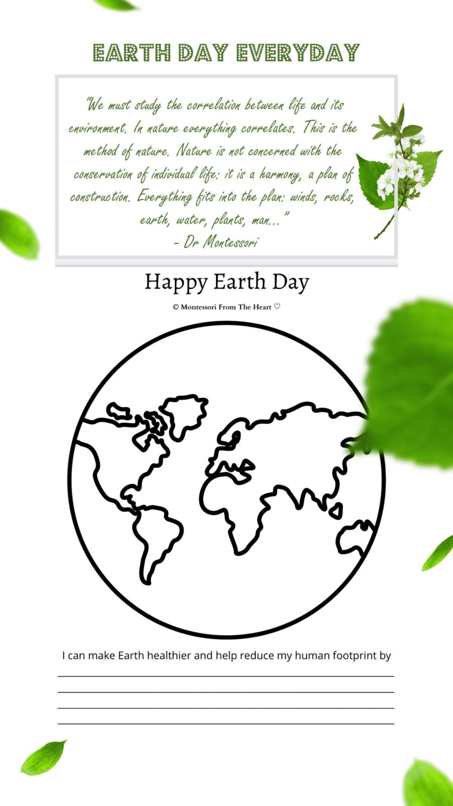 *Happy Earth Day World Template Printable