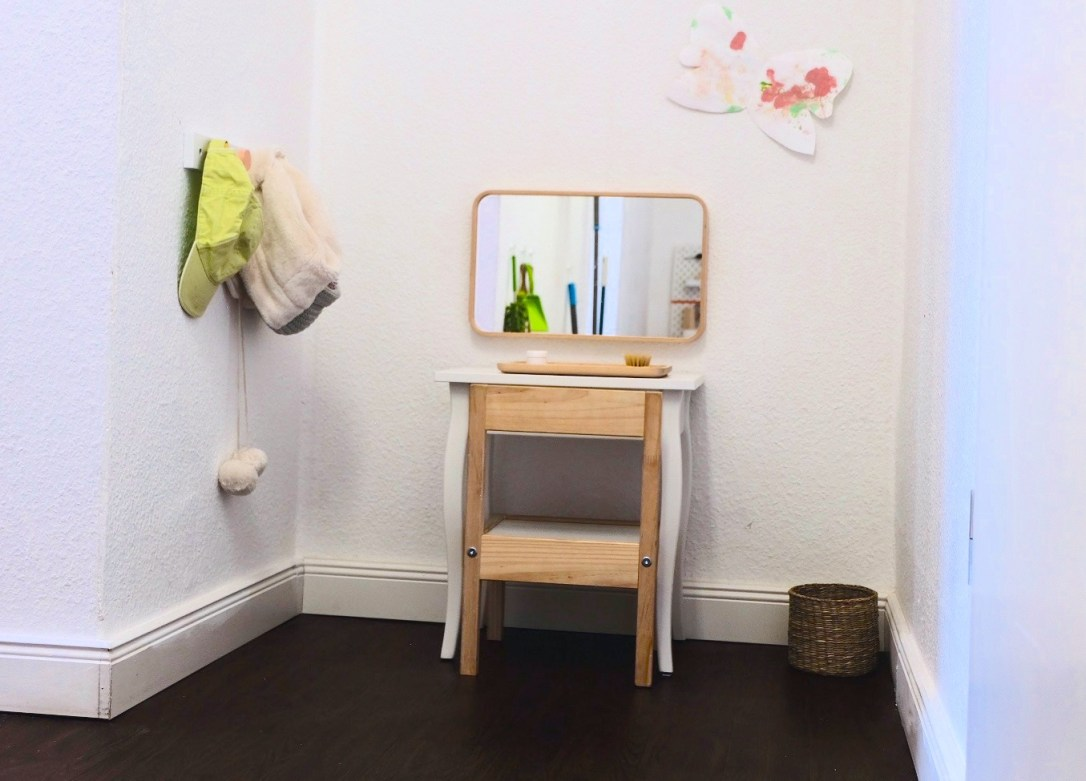 toddler self care area vanity montessori