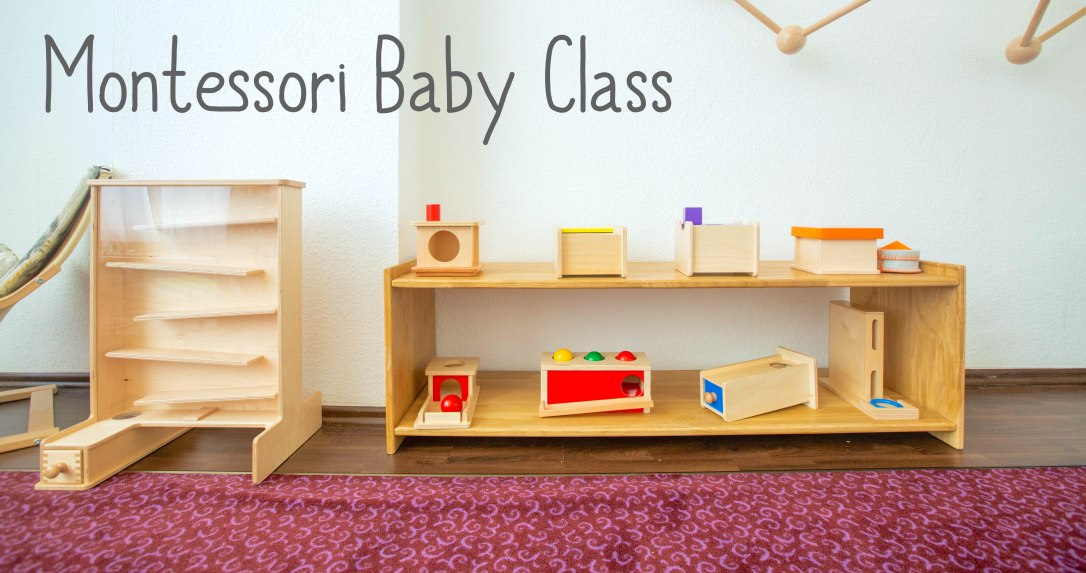 Montessori BAby Class in Berlin, Germany's first Montessori early learning center, a montessori school for parents and babies to learn about how to use the montessori approach together. Pictured is a montessori tracker and shelf with activities for developing eye-hand coordination called imbucare materials