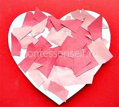 Аппликация сердце из кусочков бумаги