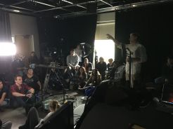 Cameras Lights Actions. Award winning filmmaker, Steve Cocklin, visits with students at Montco TV studio in the Advance Technology Center.