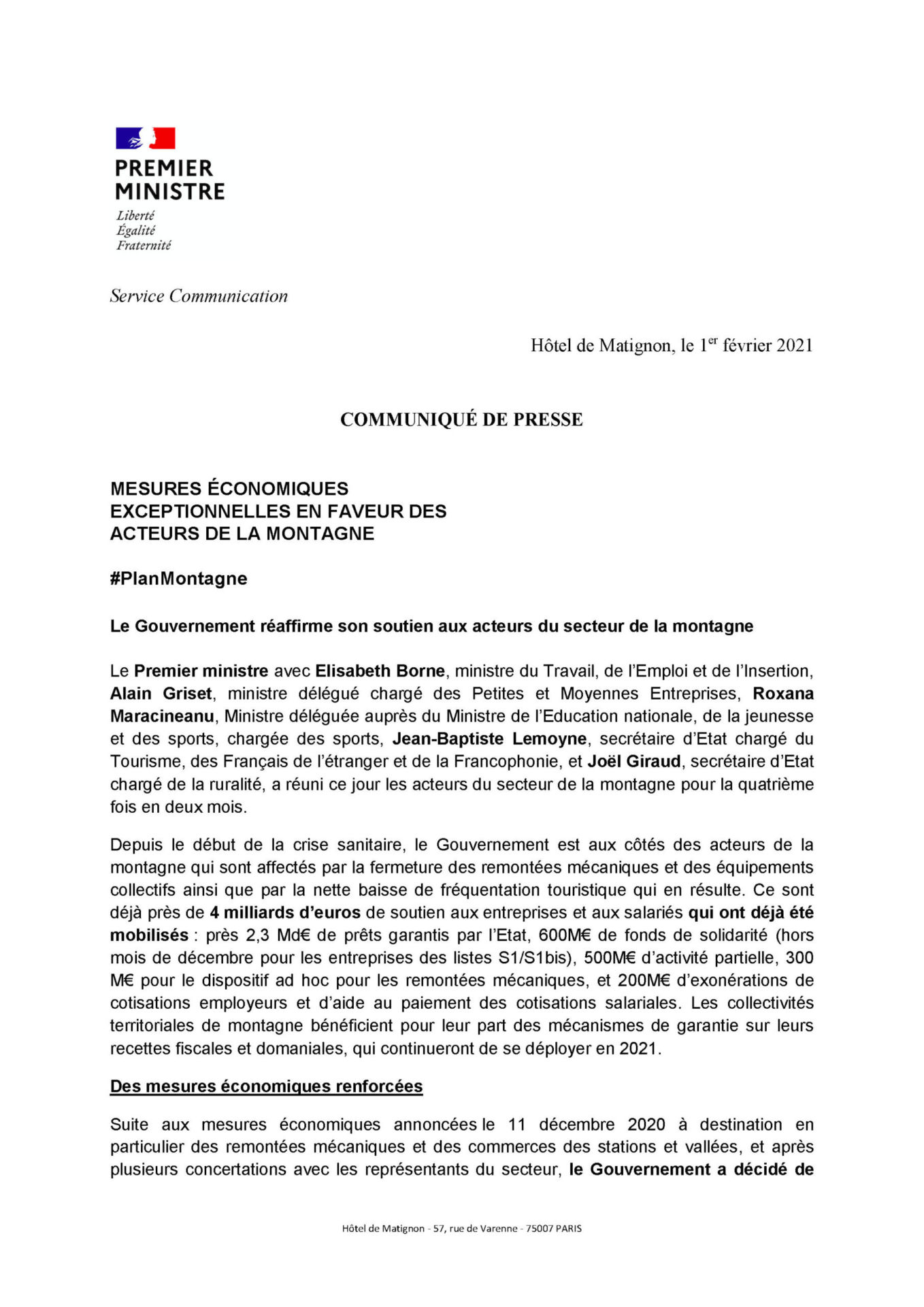 Communique de Presse de M. Jean Castex - Premier Ministre - Mesures Economiques Exceptionnelles En Faveur Des Acteurs De La Montagne - Mairie de Montgenèvre