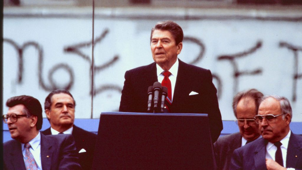 President Ronald Reagan spoke at Berlin's iconic Brandenburg Gate in view of the Berlin Wall, and delivered a message to Mikhail S. Gorbachev, the Soviet leader at the time.