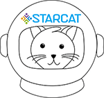 STARCat library catalog logo is a cat in a spacesuit helmet with starcat written across the top
