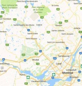 Carte des environs de Montréal