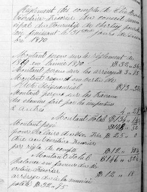 Budget de Chertsey 1870