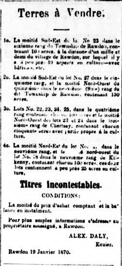 La Gazette de Joliette 31 janvier 1870