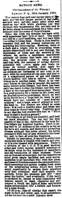 Daily Witness 4 février 1884