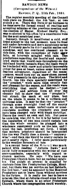 Daily Witness 18 février 1884