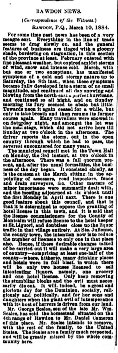 Daily Witness 14 mars 1884