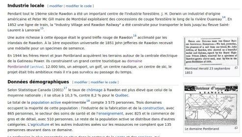 Histoire de Rawdon sur Wikipedia