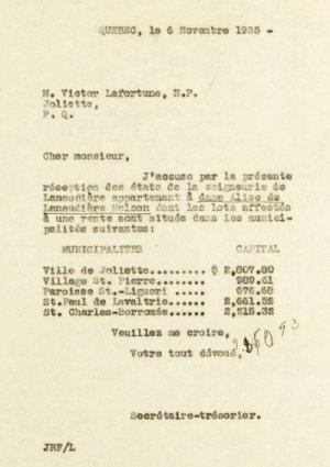 État de compte 1935