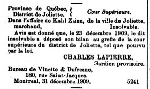 Gazette Officielle du Québec 31 décembre 1909