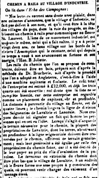 Journal de Québec 16 février 1847