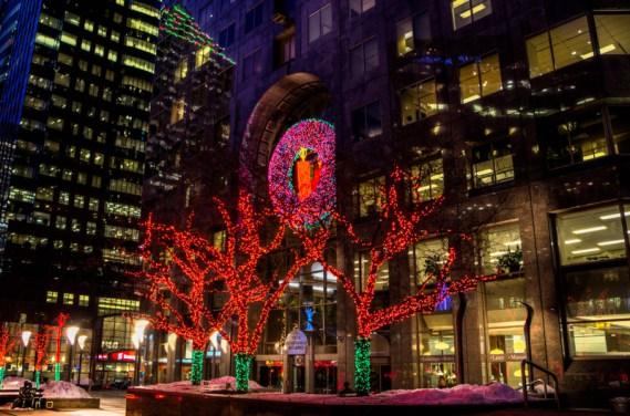 Christmas decorations on McGill College Avenue