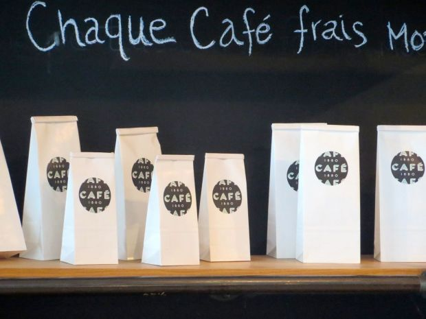 Bags of coffee. Cafe 1880.