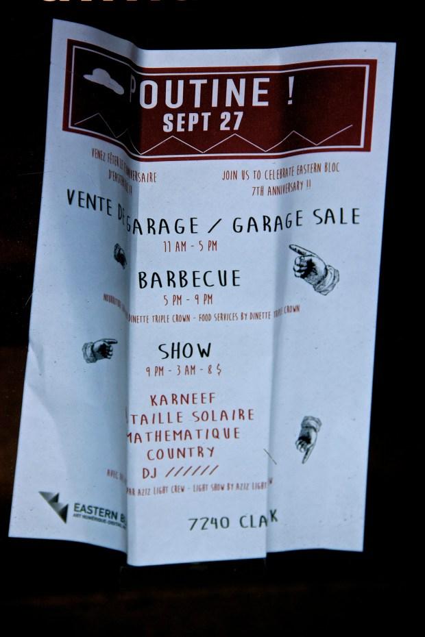 Program. Eastern Bloc Garage Sale. Photo Michael Bakouch.