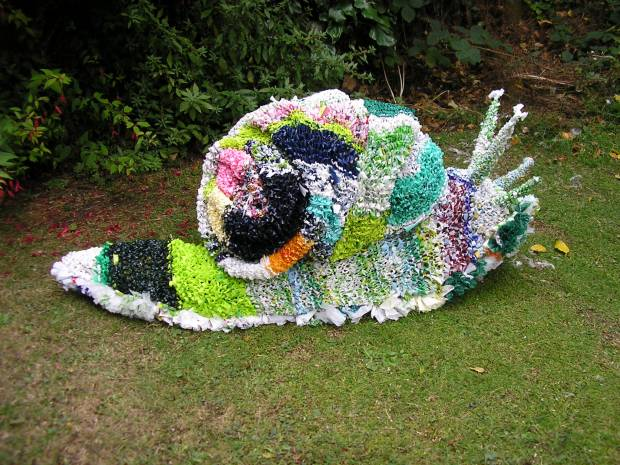 Snail made out of plastic bags. Danny Manning