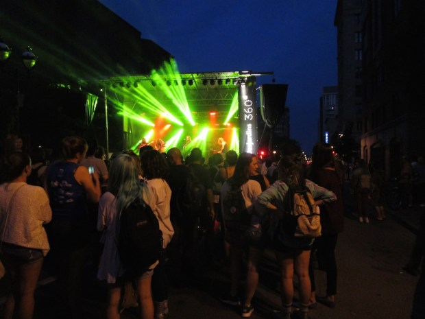 Crowd and stage on St. Denis. OUMF. Photo Rachel Levine