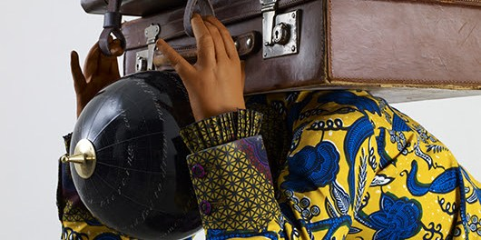Yinka Shonibare, MBE. Homeless Child 3 (detail), 2013. Life-size fiberglass mannequin, Dutch wax printed cotton, mixed media. © Yinka Shonibare MBE / Photo: Stephen White / SODRAC / Courtesy James Cohan Gallery, New York and Shanghai.