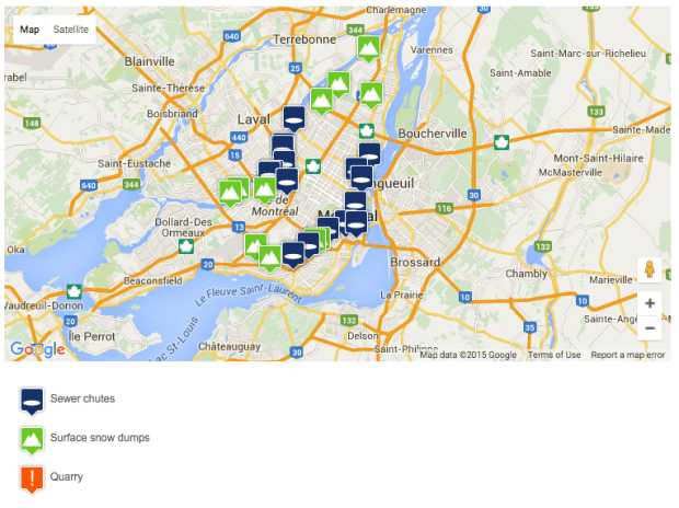 Screen shot of snow dumping sites. Montreal.