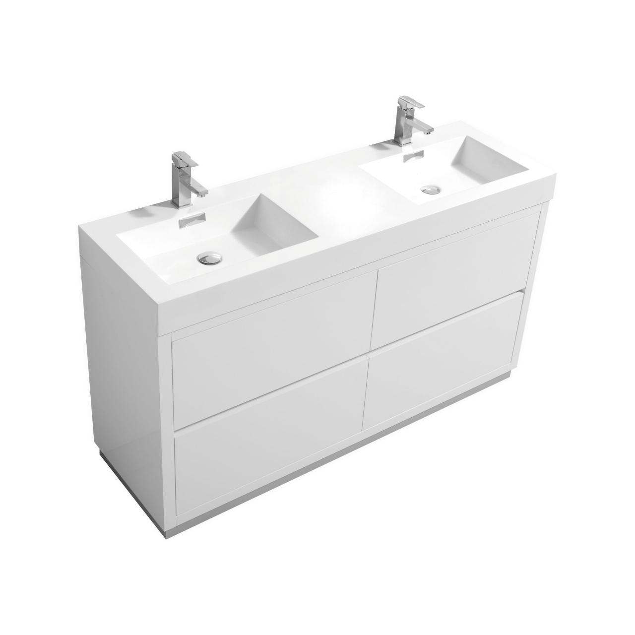 Bliss 60 High Gloss White Double Sink Floor Mount