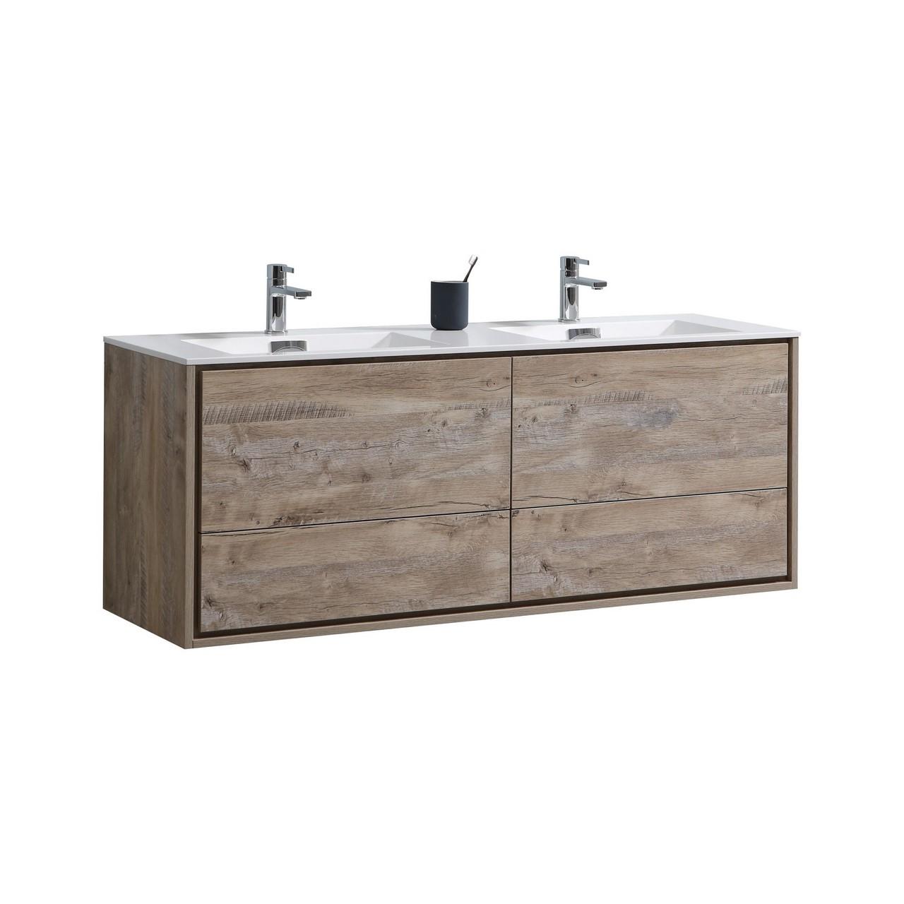 De Lusso 60 Double Sink Nature Wood Wall Mount Modern