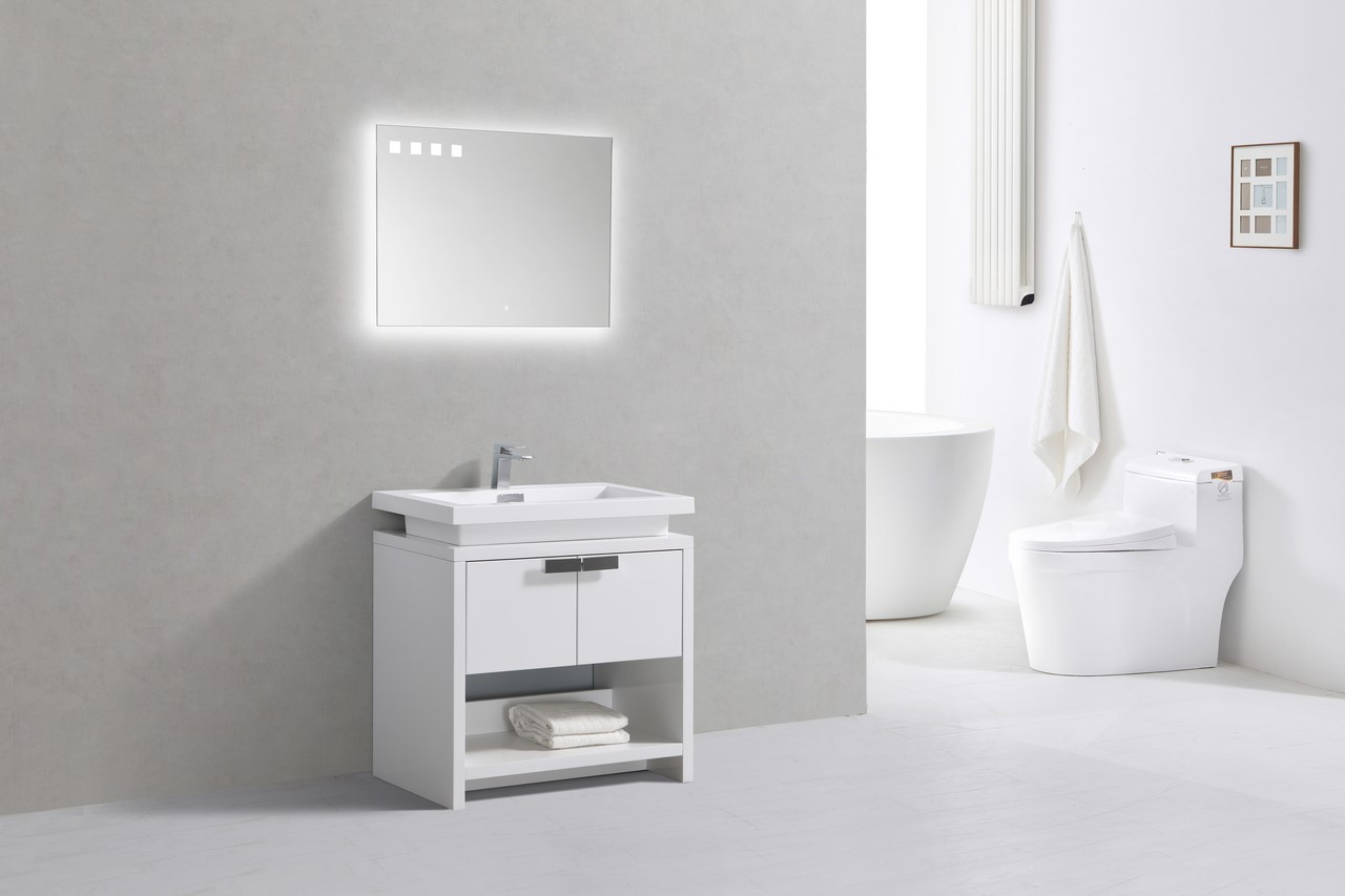 Levi 32 High Gloss White Modern Bathroom Vanity W Cubby