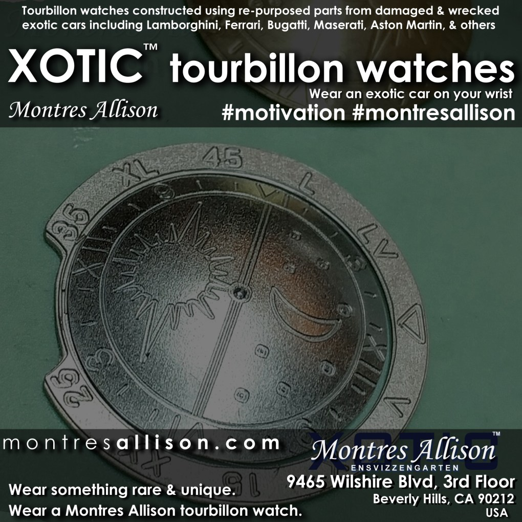 Xotic™ tourbillon watches made by Montres Allison from wrecked and damaged Lamborghini, Ferrari, Bugatti, Aston Martin, Maserati, and other exotic cars. https://montresallison.com #lamborghini #ferrari #maserati #bugatti #astonmartin #tourbillon #montresallison #xotic