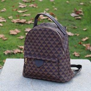 mochila marrón estampada otoñal