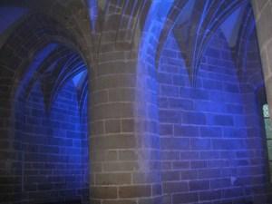 Effet nocturne salle des gros piliers Mont-saint-Michel
