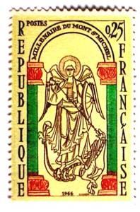 Timbre Mont-Saint-Michel du millénaire en 1966