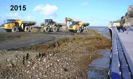 Démolition de l'ancienne digue-route