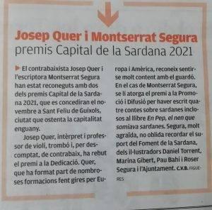 Josep Quer i Montserrat Segura premis Capital de la Sardana 2021