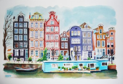 Canal i casa f lotant. Amsterdam, Holanda (Països Baixos)