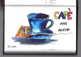 Tassa de cafè amb sobre de sucre (aquarel·la i tinta) | Taza de café con sobre de azúcar (acuarela i tinta) | Cap of coffee and sugar (watercolor and ink).