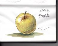 Poma (aquarel·la i tinta) | Manzana (acuarela i tinta) | Apple (watercolor and ink).