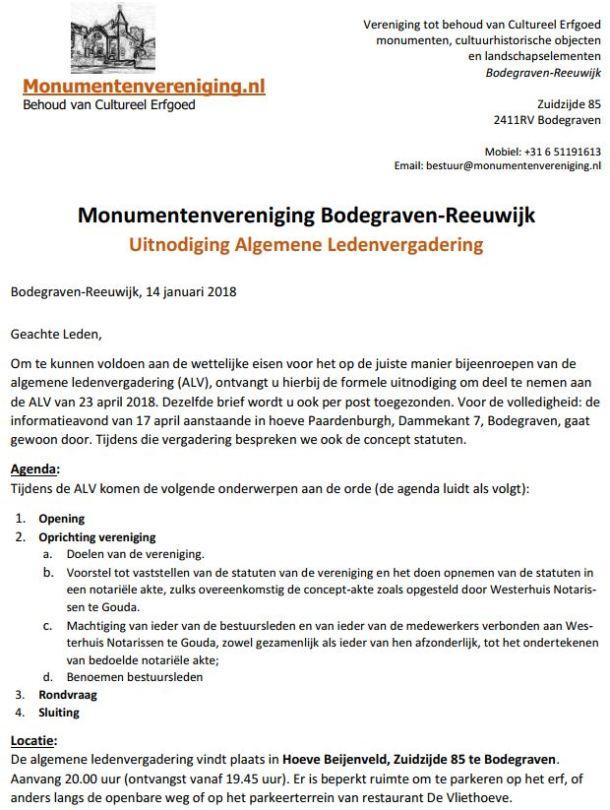 Monumentenvereniging, uitnodiging ALV 23 april 2018 p1