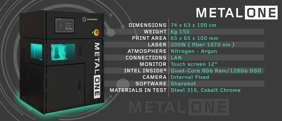 metal one stampante 3d metallo sharebot monza