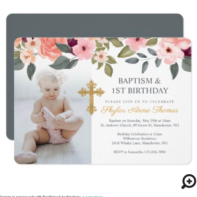 baptism 1st birthday watercolor