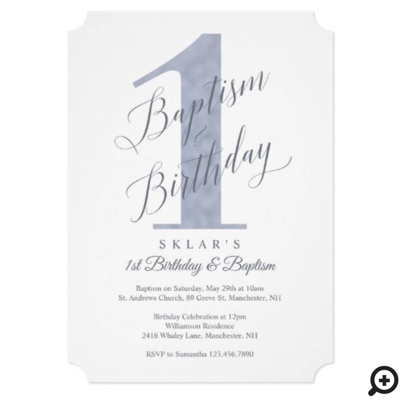 elegant script blue baby s 1st birthday