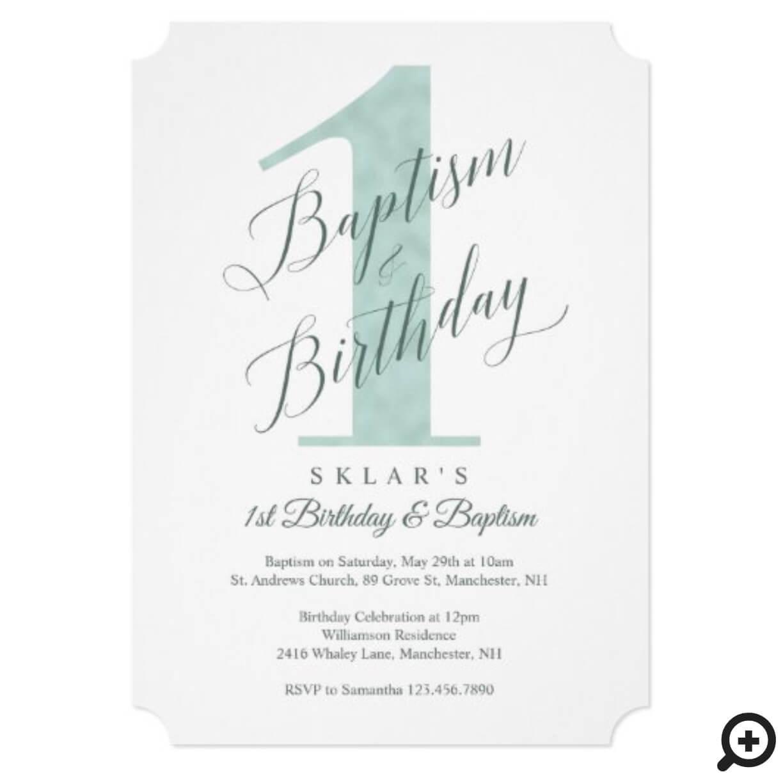 elegant script mint baby s 1st birthday