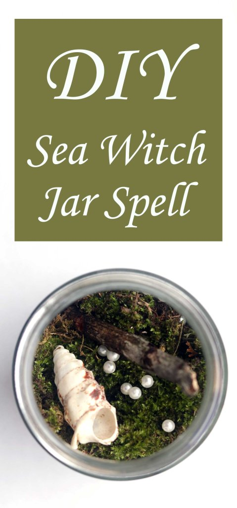 Create this DIY Sea Witch Jar Spell from simple tools like moss, driftwood, shells for a quick, easy moon spell that looks beautiful, too!