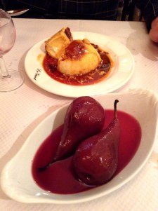 Wine-poached pear and crème caramel