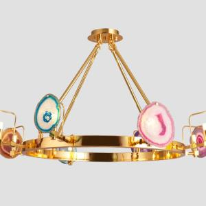 Two Tier,Agate Chandelier, Golden