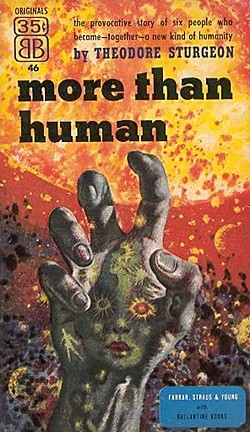 The first paperback edition of More Than Human (Ballantine, 1953). Art by Richard Powers.